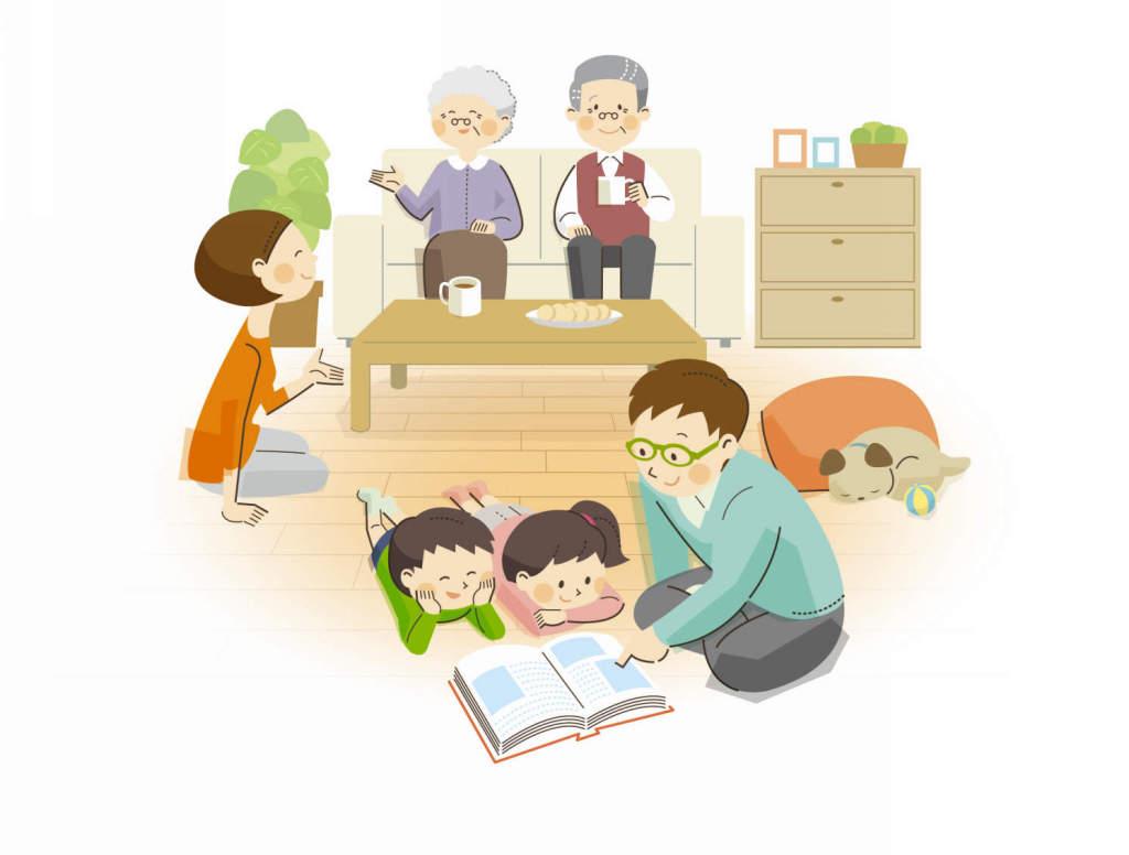 床暖房パネルイラスト家族 (1)